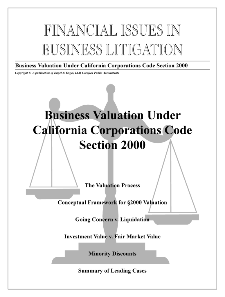 Business Valuation Under California Corporate Code Section 2000