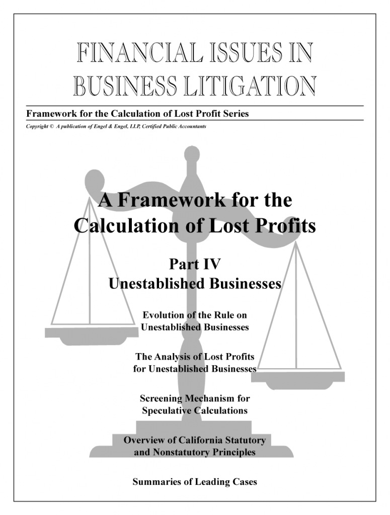 "Framework for the Calculation of Lost Profits: Part IV: ""Unestablished Businesses"""